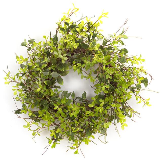 Oversized Mixed Foliage Wreath, Green