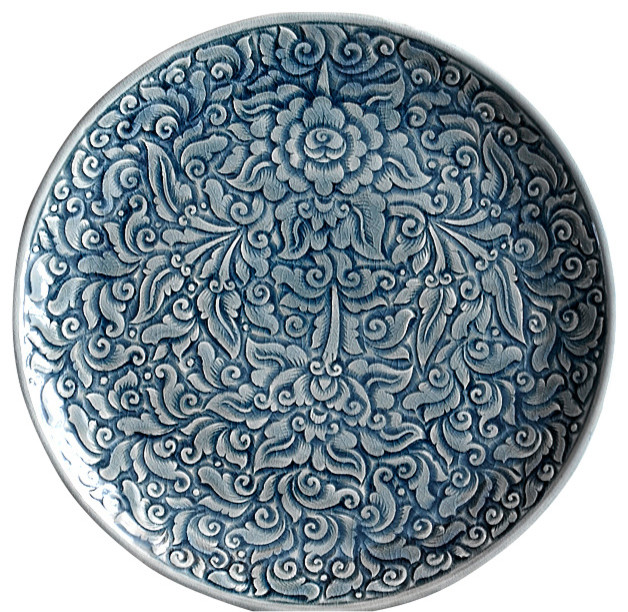 Decorative Dinner Plates Brilliant Blue Celadon Plates Allover Floral  Asian  Dinner Plates . Decorating Inspiration