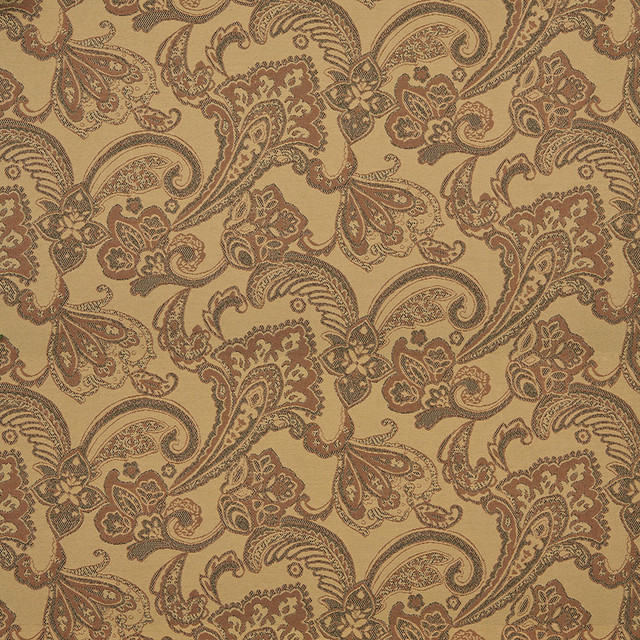 Orange Tan Brown Floral Foliage Indoor Outdoor Upholstery Fabric By