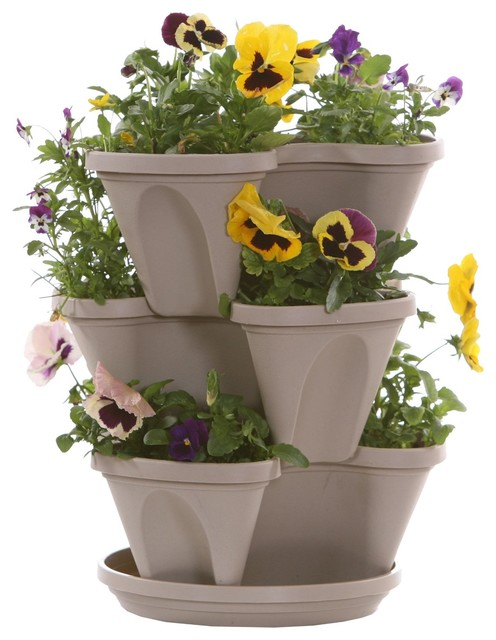 Shop Houzz Nature 39 S Distributing Vertical Gardening Stacking Planters Stone Outdoor Pots
