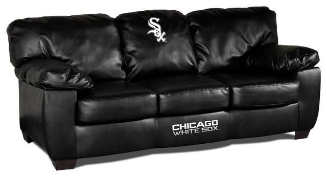 Chicago White Sox Black Leather Classic Sofa