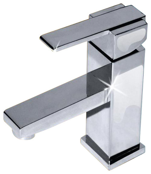 Fine Fixtures Square Faucet, Polished Chrome Modern Bathroom Sink Faucets