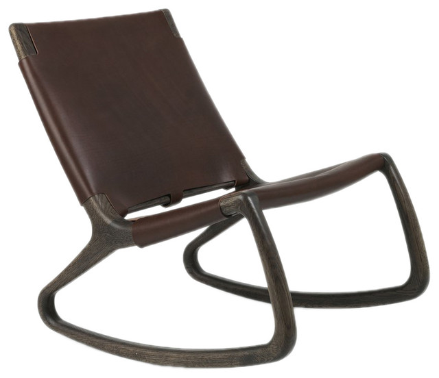 Mater Danish Modern Rocking Chair Leather Sirka Gray Stained