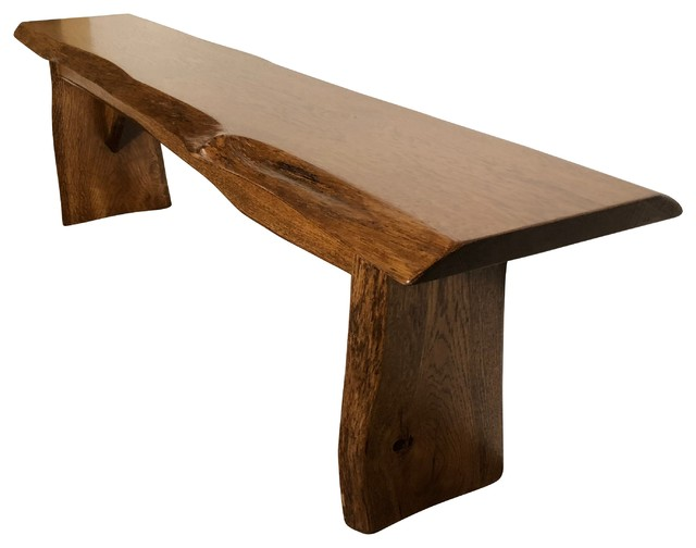 Live Edge Bench Solid Rustic Oak Wood Cappuccino Stain