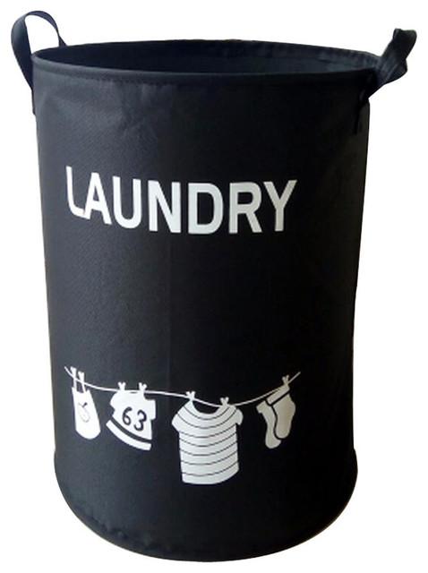 Polyester Home Laundry Baskets Clothes Hamper Storage Toy Organizer, Black.