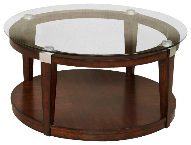 Hammary Solitaire 2 Piece Round Coffee Table Set In Rich Dark Brown Traditional Coffee Table