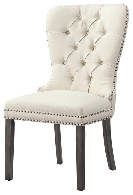 Wondrous Theo Tufted Dining Chair Nailhead Trim Set Of 2 Cream White Linen Gmtry Best Dining Table And Chair Ideas Images Gmtryco