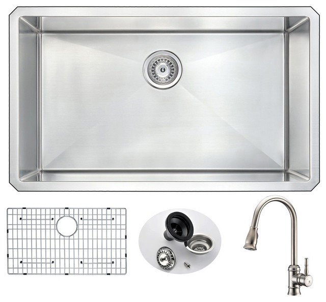 Anzzi Vanguard Undermount Stainless Steel Kitchen Sink With Sails Faucet.