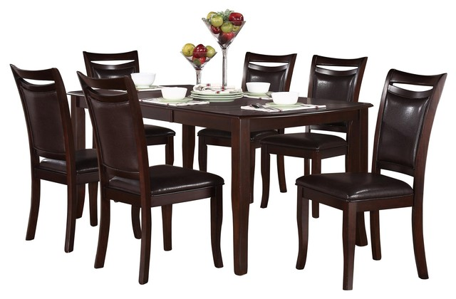 7 Piece Macbain Casual Dining Set Table And 6 Side Chair Dark Brown Transitional Dining Sets By Amoc