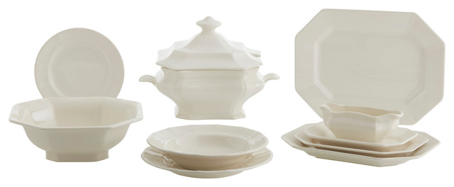 Fine China Ochavada Complete 56 Piece Dinnerware Set