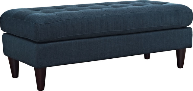 Miles Upholstered Fabric Bench, Azure.