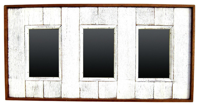 Hanging Frame for 3 Pictures, Distressed White - Farmhouse - Picture ...