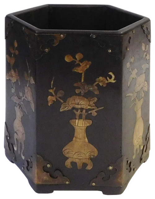 Oriental Mother of Pearl Hexagon Wood Brush Holder Display - Asian - Decorative Objects And ...