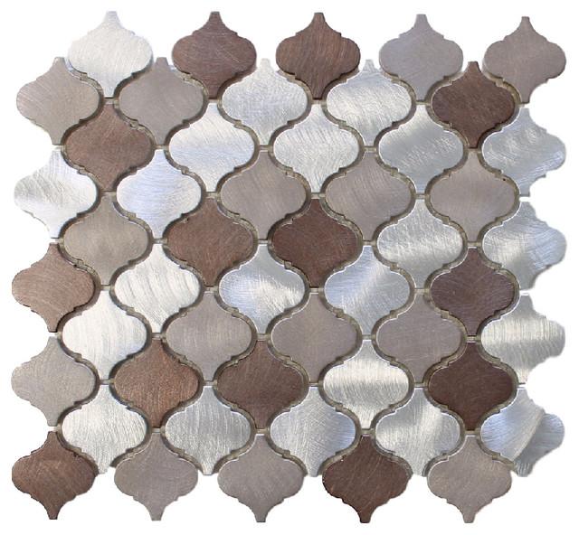 Casablanca Brushed Aluminum Arabesque Mosaic Tile Chip Size 2 X2