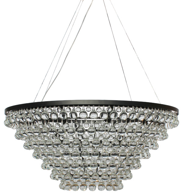 Celeste Tapered Glass Drop Crystal Chandelier Black Contemporary - Chandelier drop crystals
