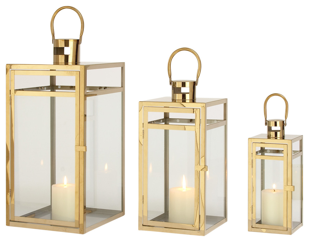 "Gw G Outlet Stainless Steel Glass Set Of 3 Lantern, 10"",14"", 18"" by Gw G Outlet"