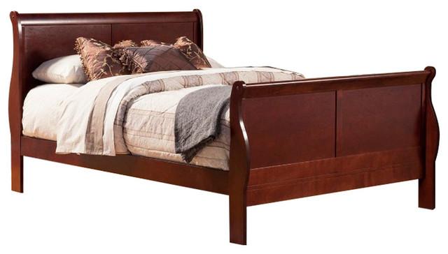 Rubberwood Queen Sleigh Bed, Brown.