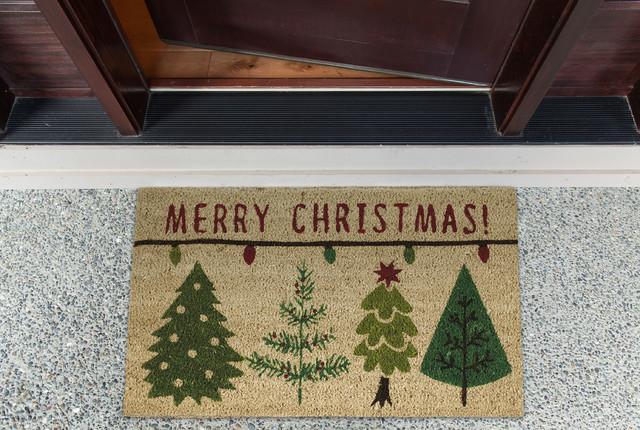 """Merry Christmas Trees Doormat, 18""""x30"""""""