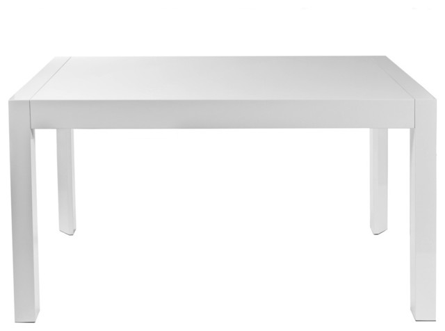 Adara Extension Table, White Lacquer Contemporary Dining Tables