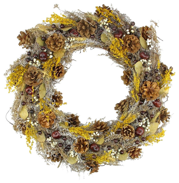 "20"" Natural And Yellow Pine Cone And Wheat Artificial Christmas Wreath, Unlit."