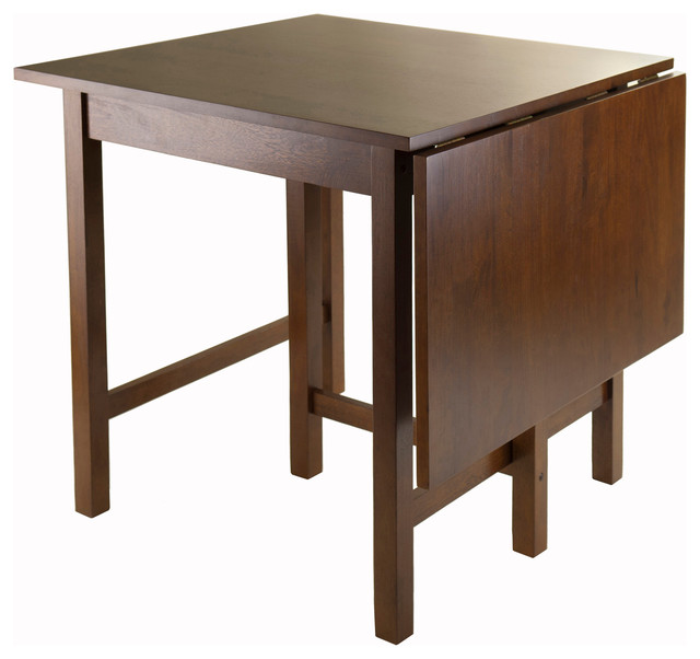 Winsome Lynden Drop Leaf Dining Table In Antique Walnut