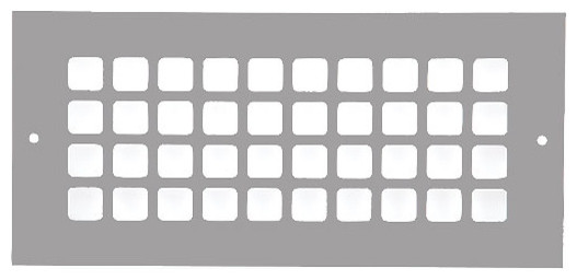 "Aluminum Grid Pattern Grille, Gray, 4""x10""."