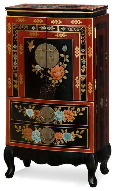 Hand Painted Tibetan Design Jewelry Armoire Asian
