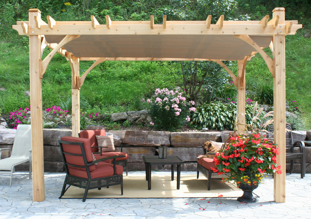 Patio - traditional patio idea in Vancouver - Pergola Kit 10x12 With Retractable Canopy - Traditional - Patio