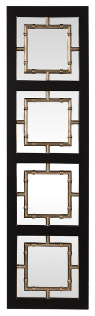 Mid Century Modern Black Gold Bamboo Mirrored Wall Art 74 Leaner Geometric Asian Wall Mirrors By My Swanky Home
