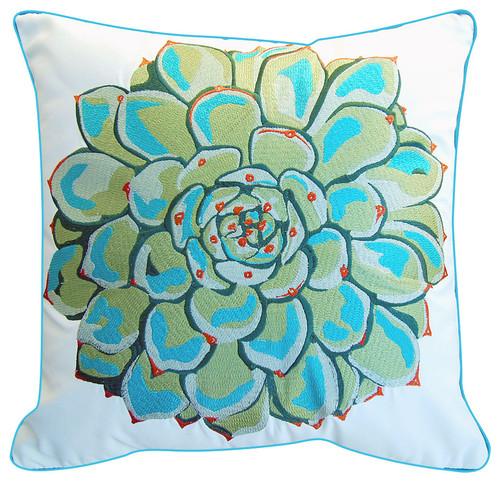 Succulent Motif Outdoor Sunbrella Pillow