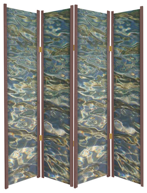 Rippling Waters Nature Theme Folding Partition Rustic