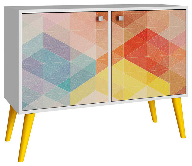 Accentuations Funky Avesta Side Table 2.0, White, Stamp And Yellow  Midcentury Side