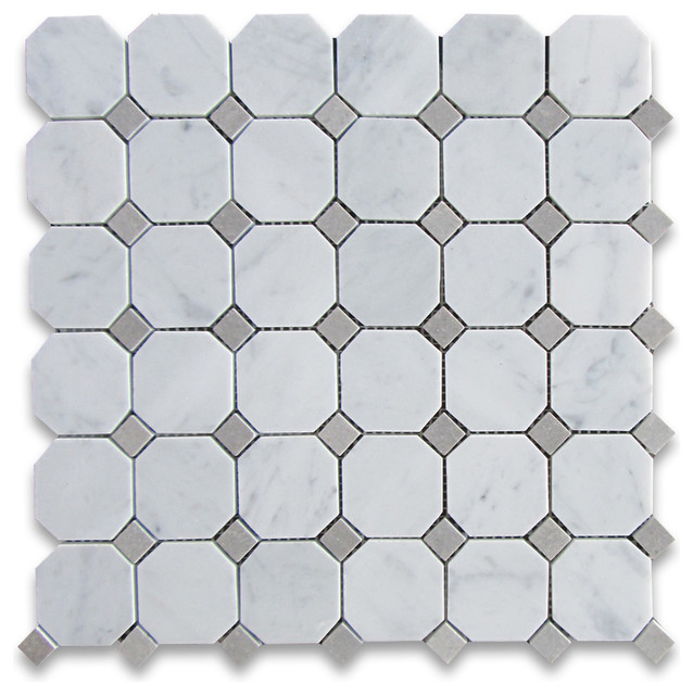 Grey Mosaic Bathroom Floor Tiles : Quot x carrara white octagon mosaic tile with gray dots
