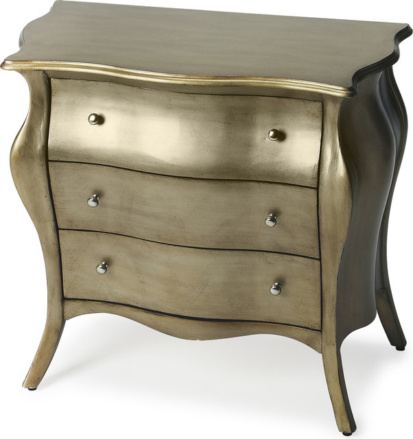 Butler Francine Brushed Pewter Painted Bombe Chest - Transitional ...