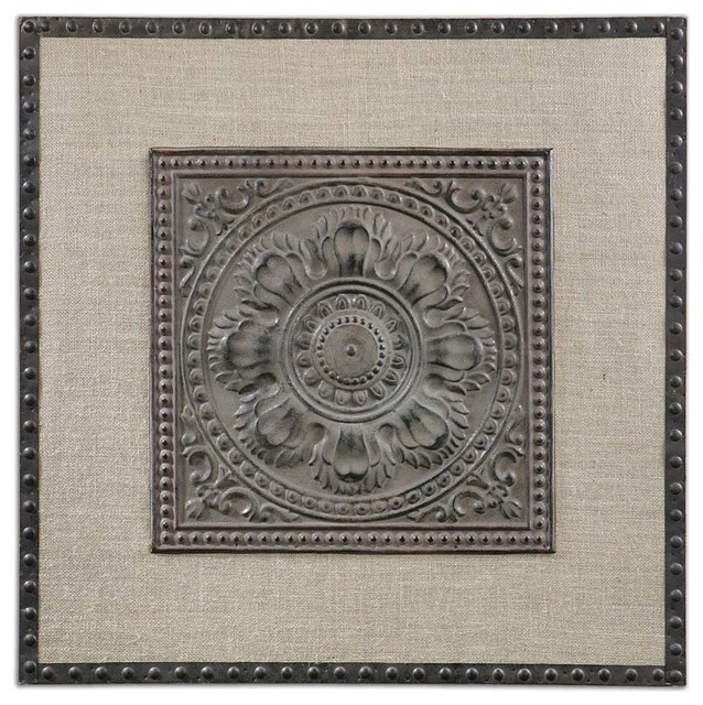 Ornate Embossed Metal Square Wall Art, Stamped Floral Linen ...