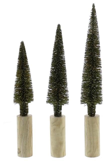 Set Of 3 Mini Topiary Trees, Bottle Brush Evergreen Statues.