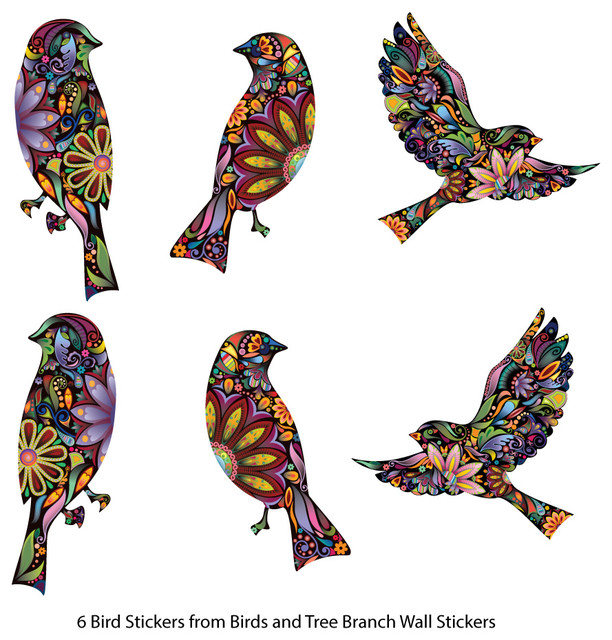 Bird Stickers In Lovely Flower Pattern, Set Of 6 Bird Decals  Contemporary Wall