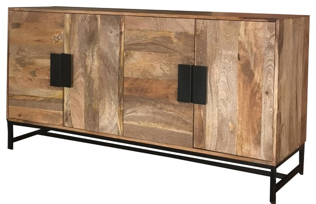 Agra 4-Door Light Mango Wood Sideboard With Iron Legs