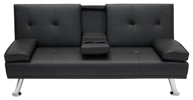 Modern Entertainment Futon Sofa Bed, Down Recliner Couch With Cup Holders.