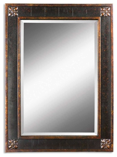 Uttermost bergamo vanity mirror traditional bathroom - Traditional bathroom mirror with lights ...