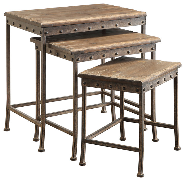 Perfect Coaster Nesting Table, Brown Industrial Coffee Table Sets