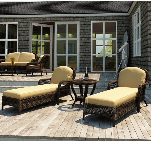 Forever patio leona 2 person resin wicker patio chaise for 2 person chaise lounge outdoor