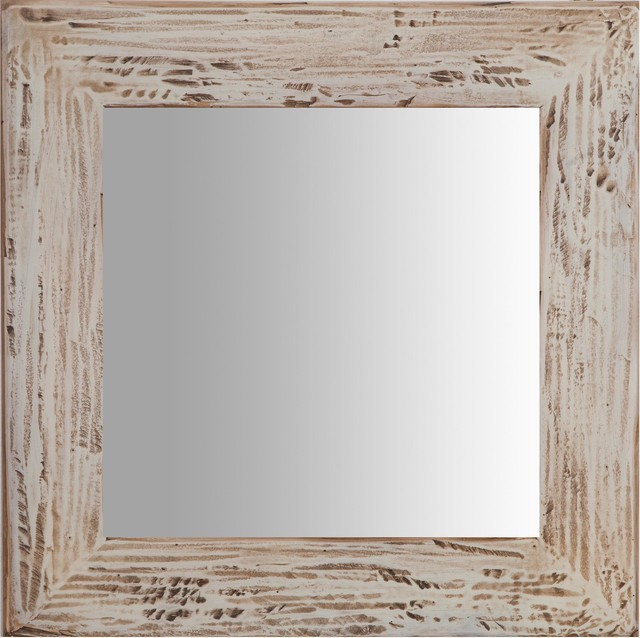 Solid Lime Wood Square Wall Mirror, Cream, 60x60 cm