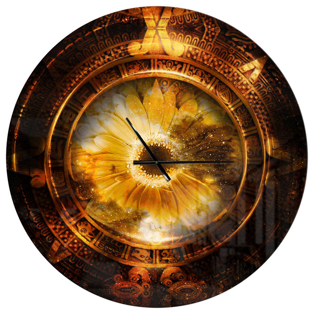 Ancient Mayan Calendar Collage Oversized Modern Metal Clock Contemporary Wall Clocks By Design Art Usa