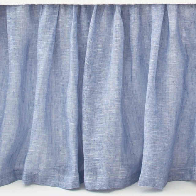 Savannah Linen Chambray Bed Skirt, Twin, French contemporary-bedding