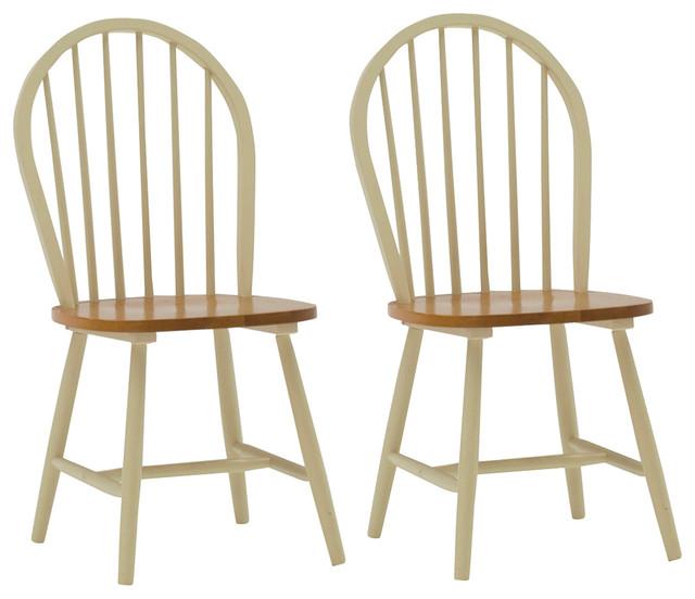 Rubberwood Windsor Dining Chair, Set of 2, Buttermilk