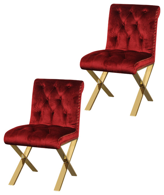 Claire Velvet Dining Chairs With Gold Legs, Set Of 2, Burgundy