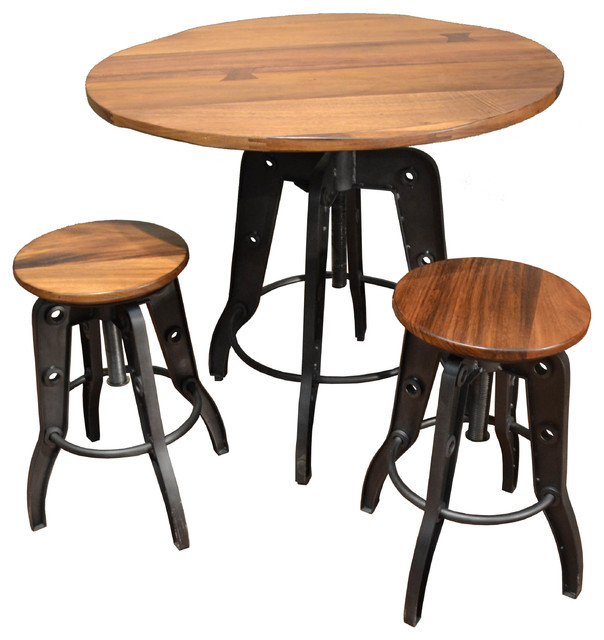 Ashland Adjustable Height Pub Table And Chairs, 3 Piece Set  Industrial Indoor
