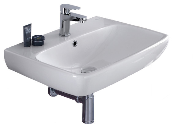 Energy 24 Wall Mounted Or Drop-In Ceramic Sink With Overflow And Faucet Hole.