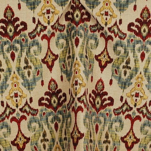 Sandoa Flame Ikat Heavy Upholstery Fabric Traditional Drapery